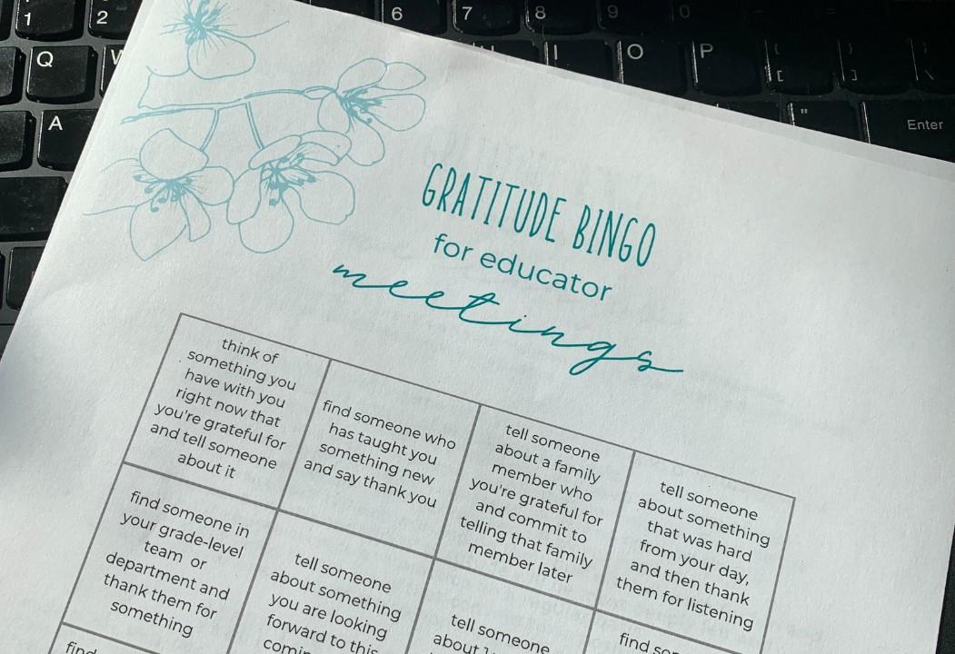 Gratitude Bingo for Educator Meetings