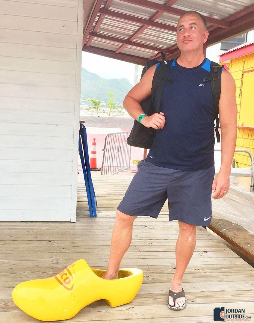 Jordan in a wooden shoe in St. Maarten
