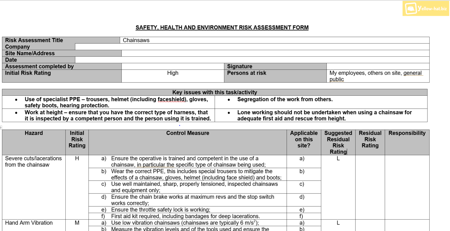 health and safety forms templates
