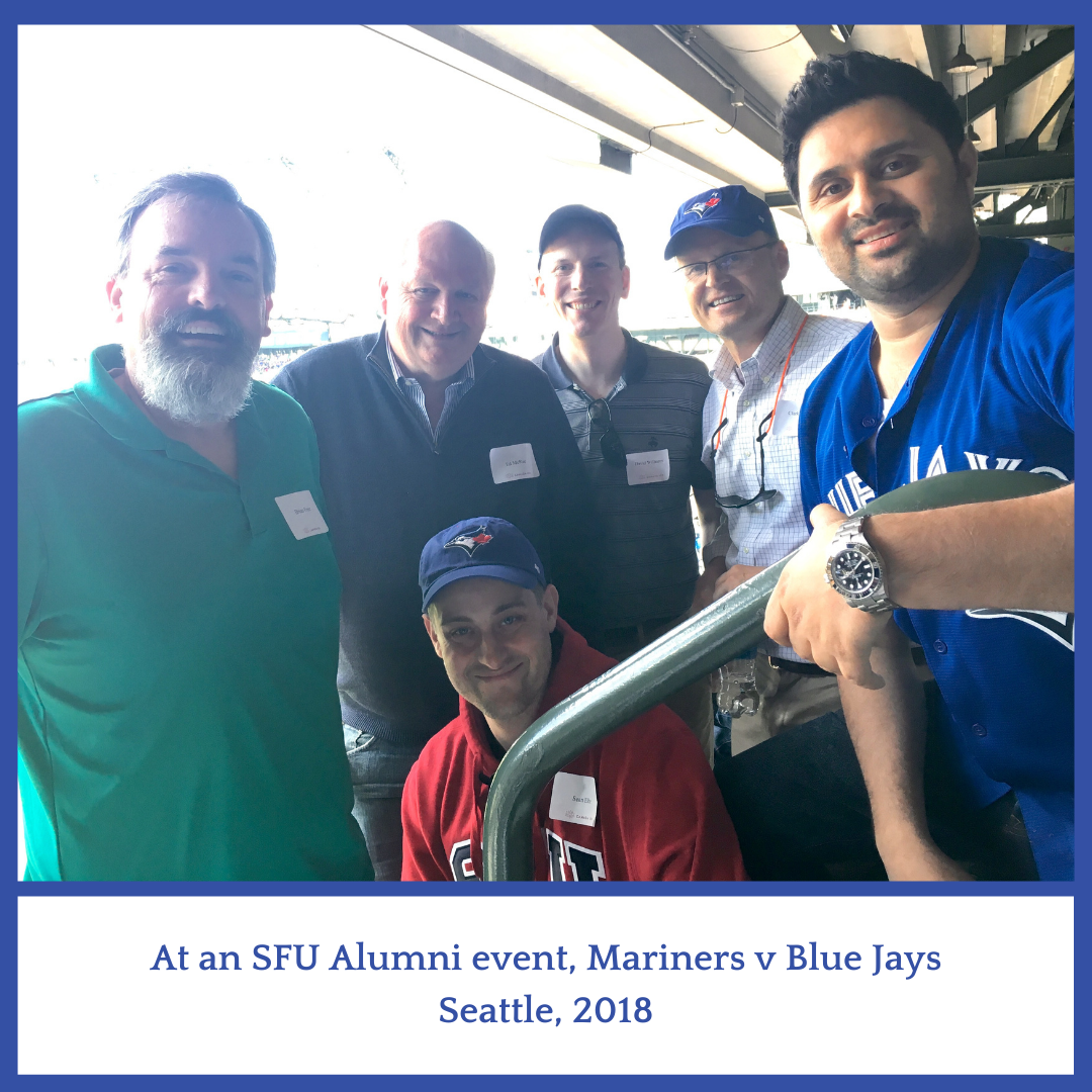 Group of  6 men at a baseball game, Seattle