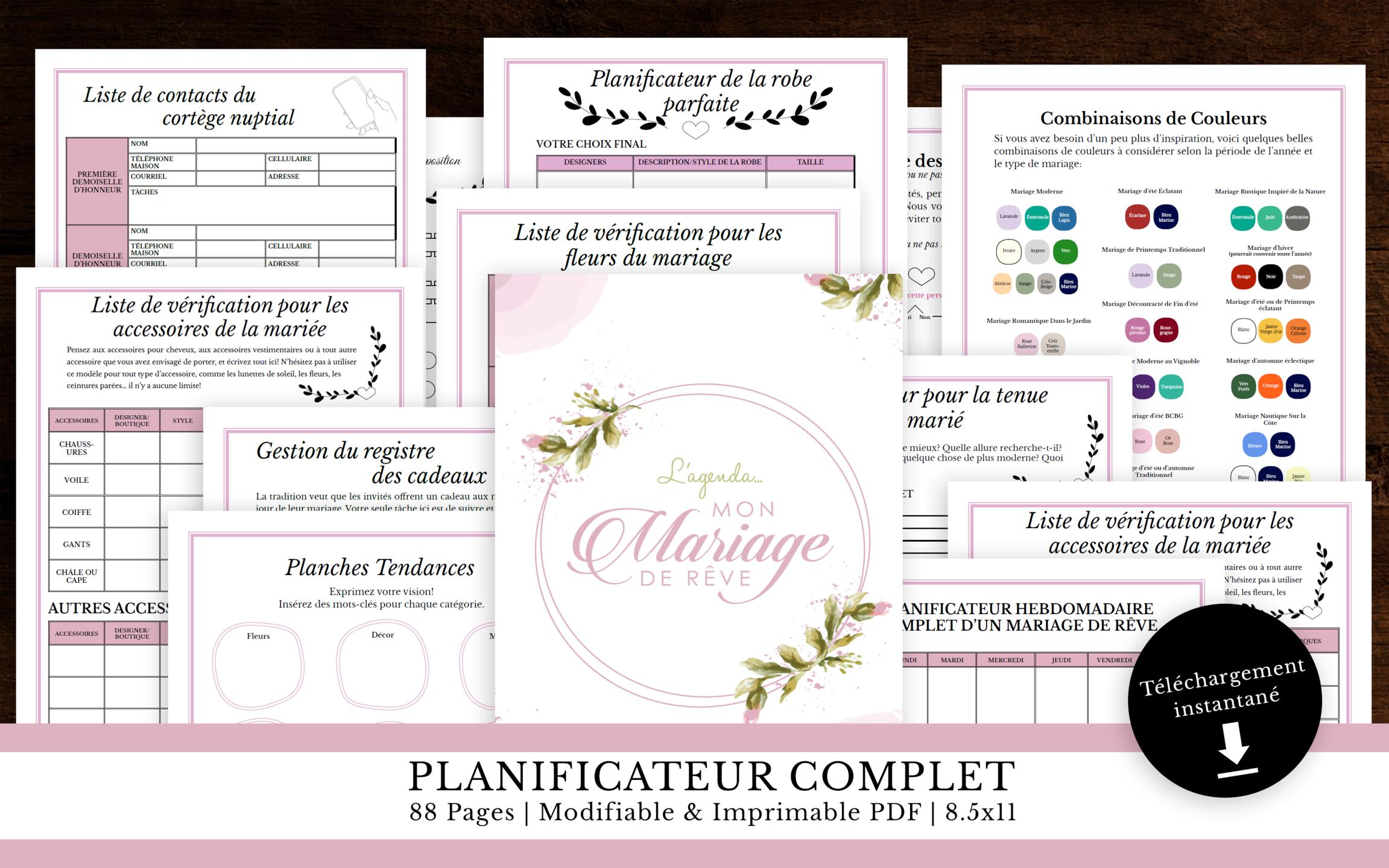 Agenda planificateur de mariage