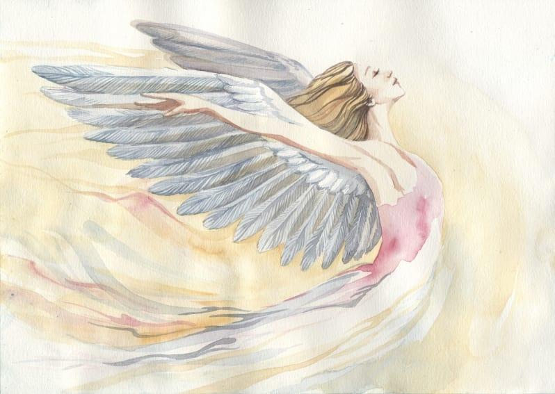 Watercolor in pink, white, and gold of a beautiful angel woman with an expression of freedom and peace