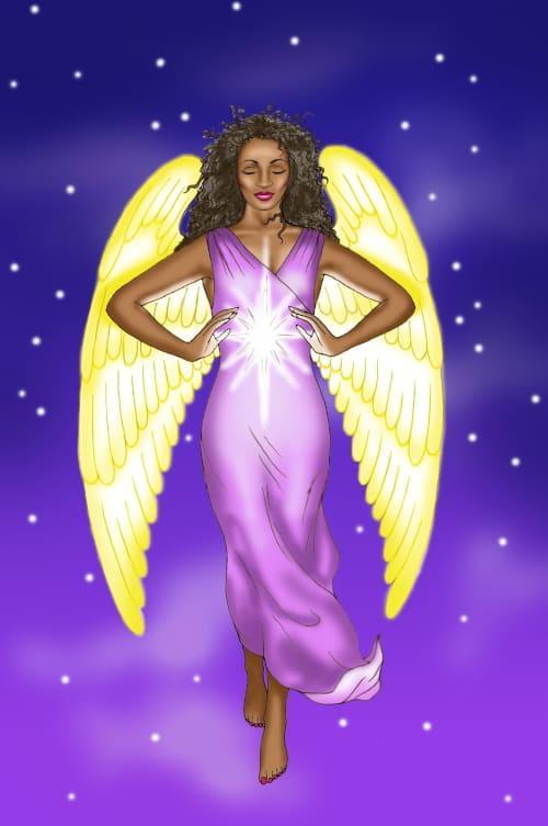 beautiful black angel with starburst at solar plexus