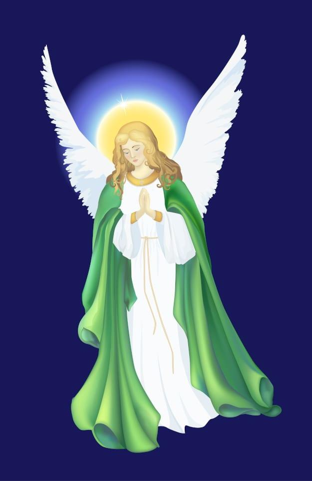 Angel with green robe and golden halo of light