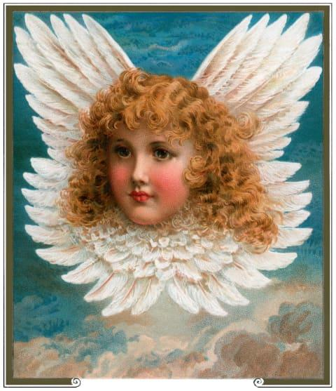 Classic print of angel portrait with golden curls