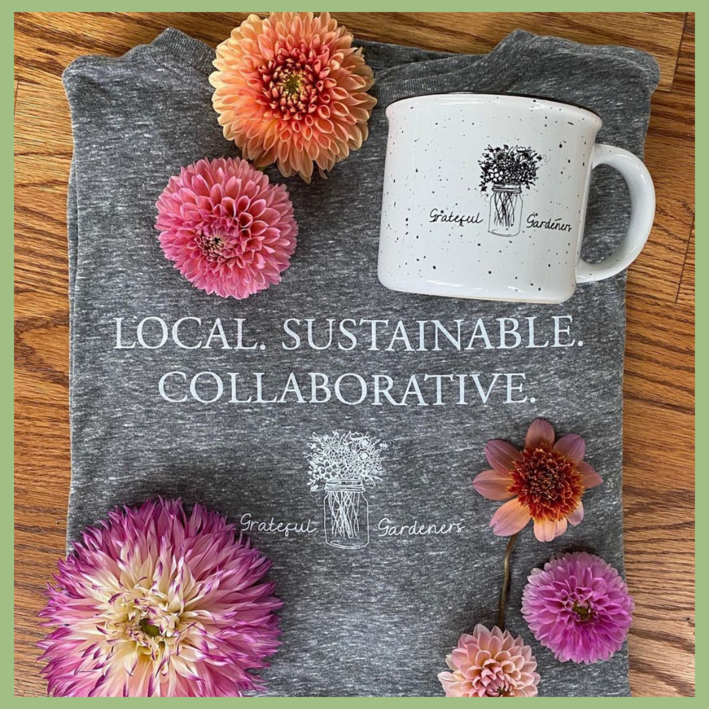 Grateful Gardeners shop for organic flowers t-shirt mug