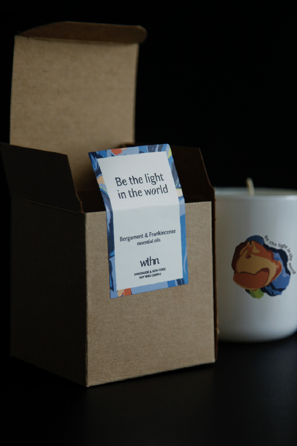 wthn label candle design custom be the light in the world