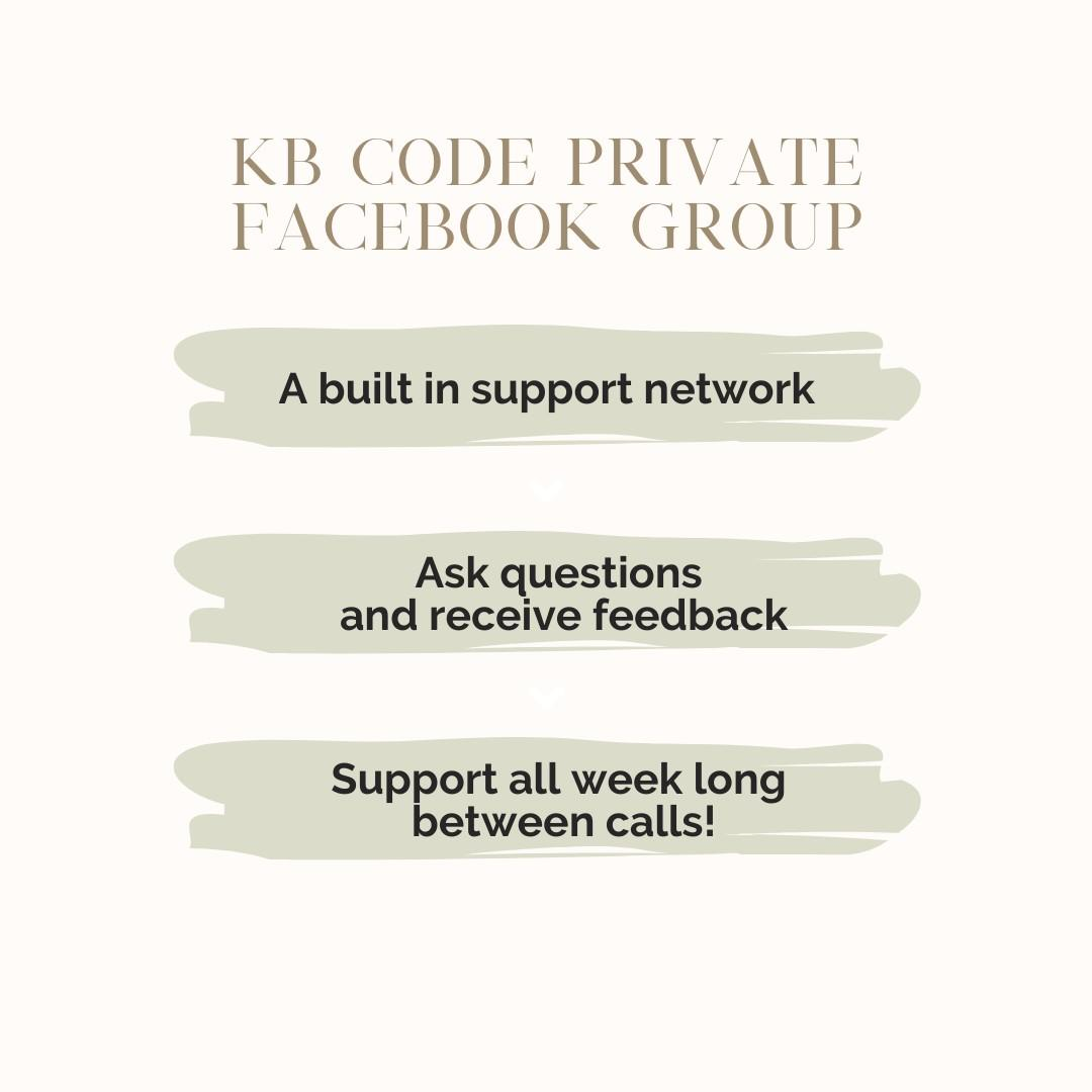 The KB Code wellness program includes a private facebook group.