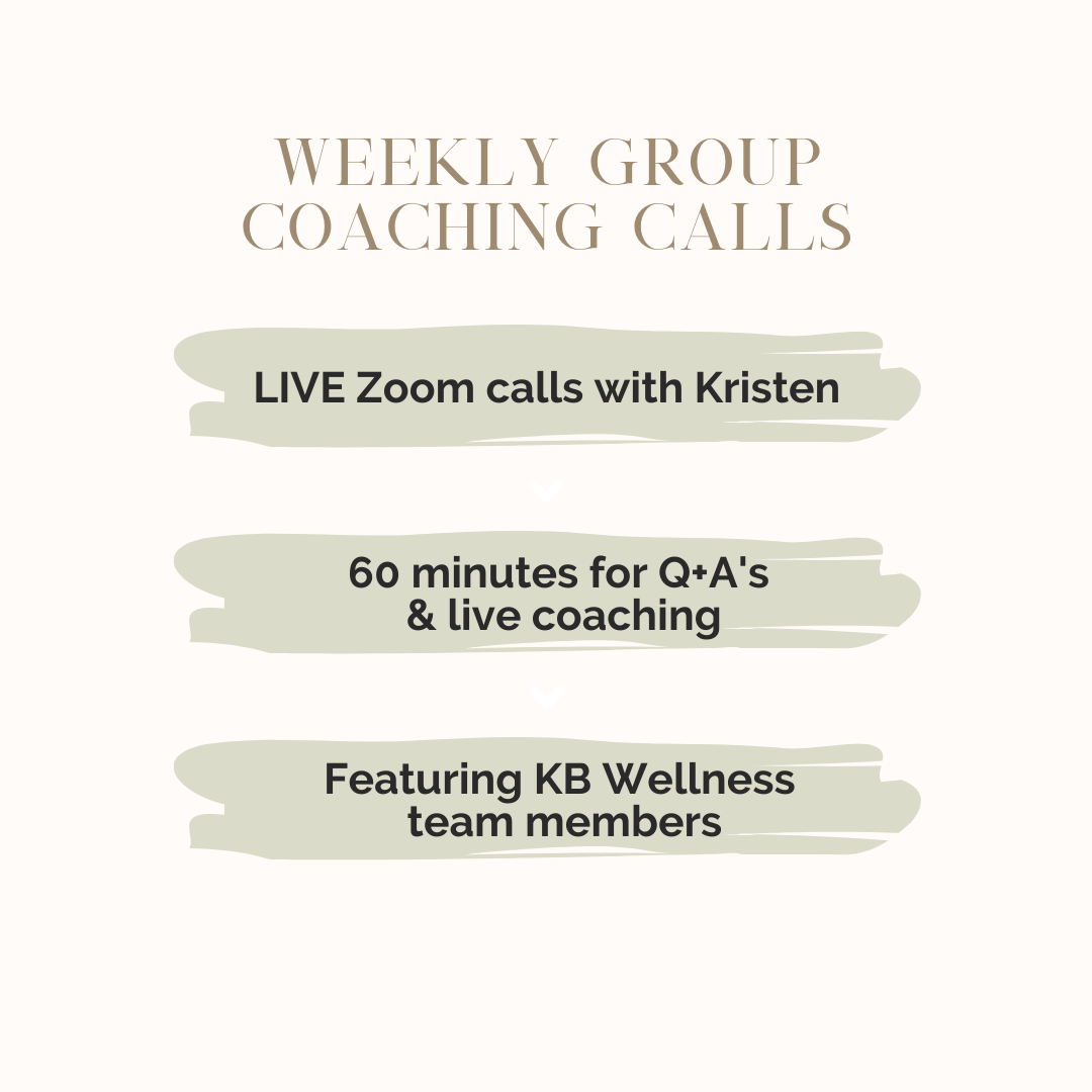 The KB Code wellness program includes weekly group coaching calls.