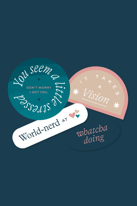 Big picture branding copywriter strategy stickers design