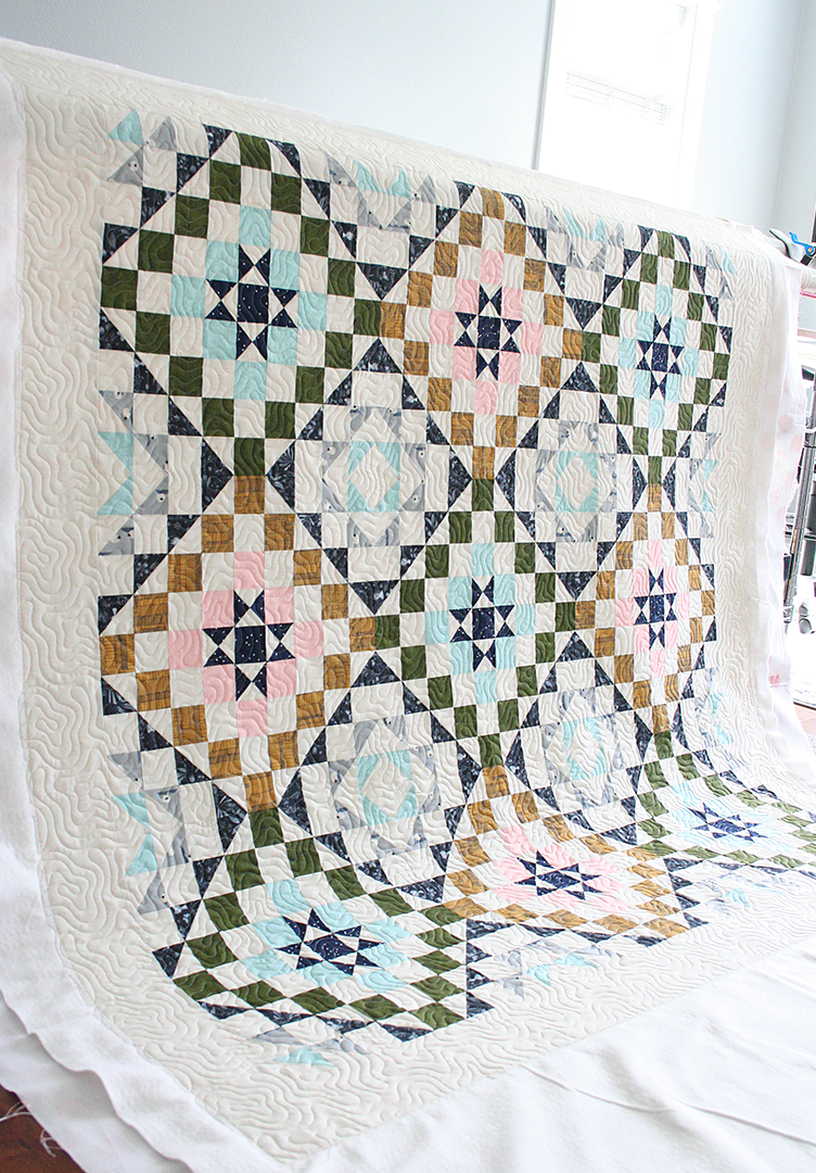 Quilt that has been quilted with the pantograph Malachite draped in a sewing studio
