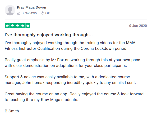 What people say about the MMA Fitness Instructor training Course.