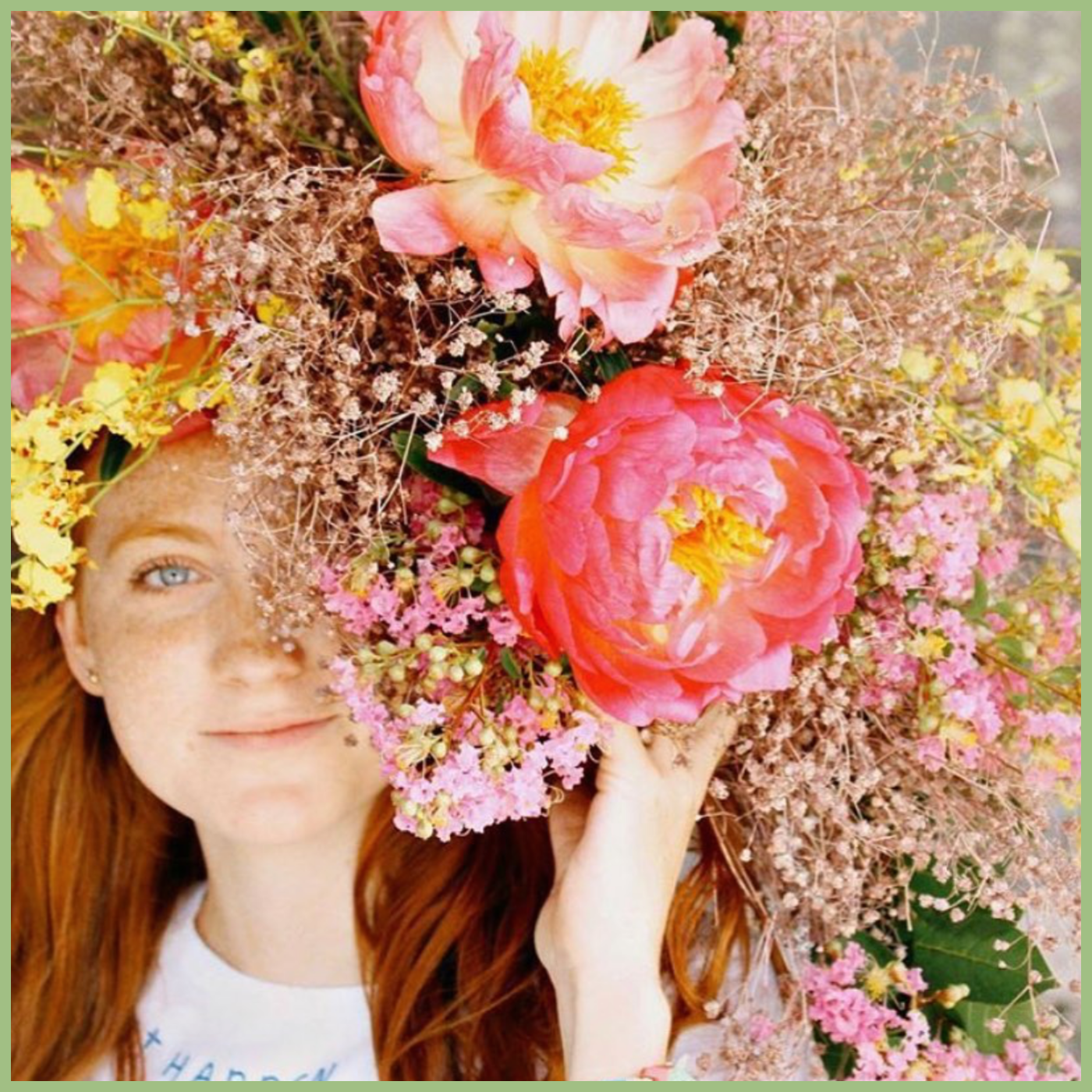 girl smiling in a large flower headpiece HBO MAX FULL BLOOM show