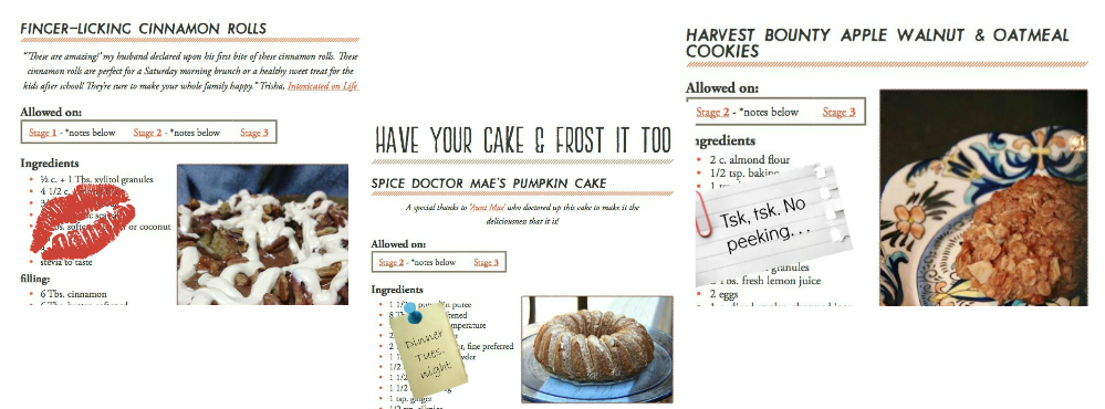 samples of cookbook pages featuring cinnamon rolls and bundt cake