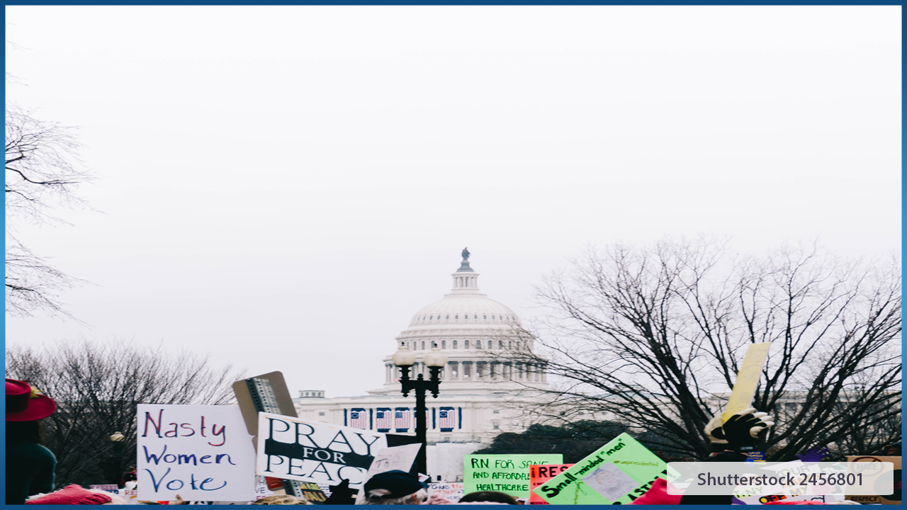 protest signs in front of capital