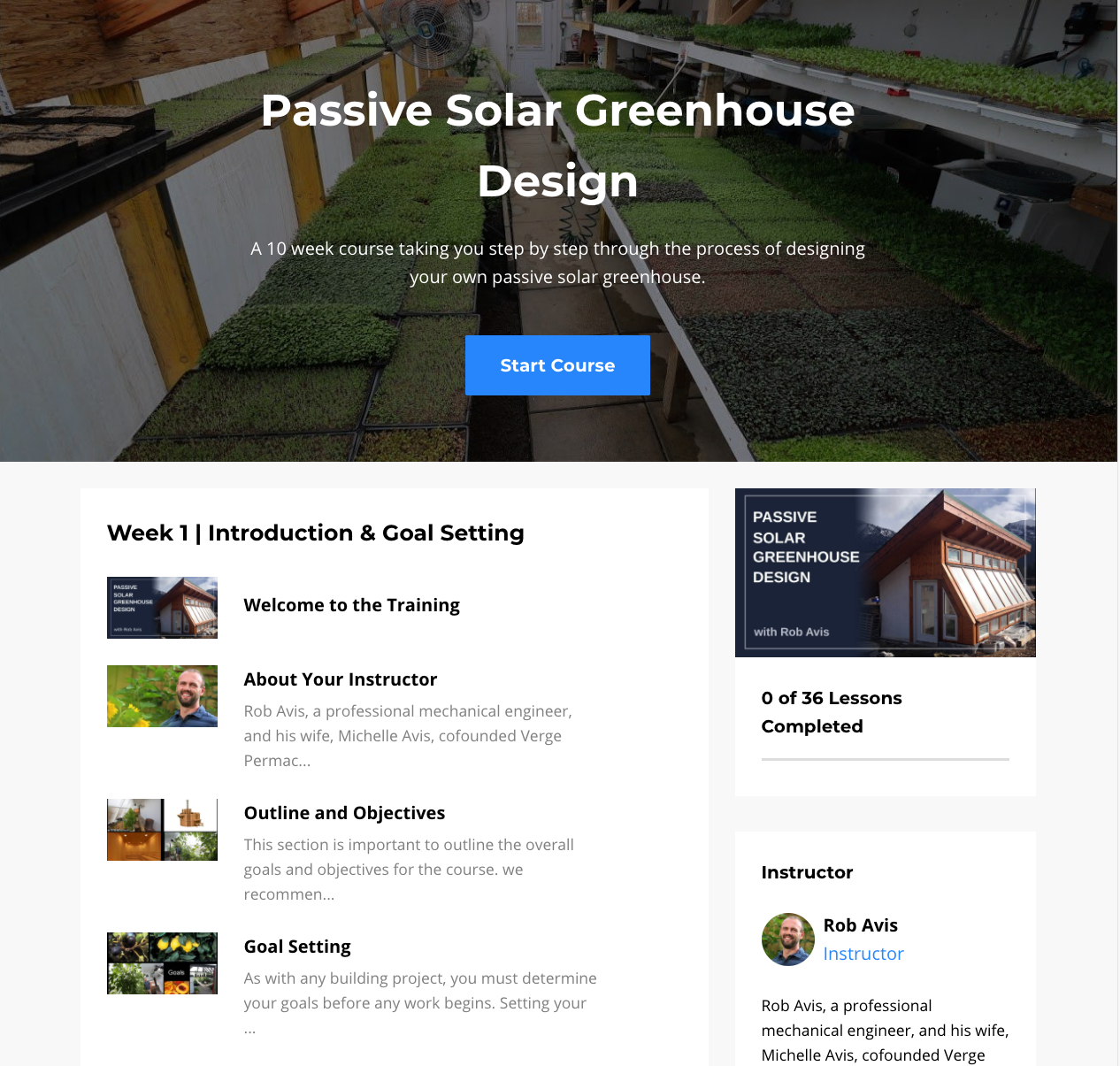 Pive Solar Greenhouse Design Course on