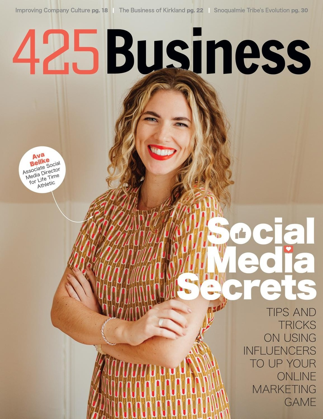 Ava Beilke pictured on the cover of 425 Business Magazine