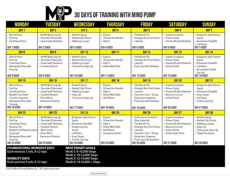 GET YOUR FREE 30 DAYS OF TRAINING WITH MIND PUMP WORKOUT CALENDAR HERE