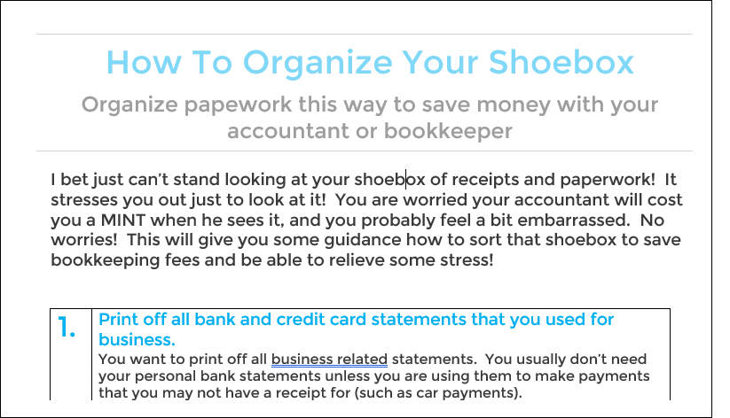 Email best way to organize your shoebox how to organize your shoebox in order to save money with your accounting professionals reheart Images