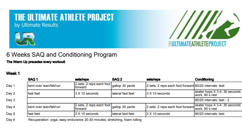 6 Week SAQ and Conditioning Plan for Ultimate Frisbee