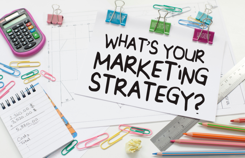 """flashcard reads, """"What's Your Marketing Strategy?"""", paper clips, calculator, ruler"""